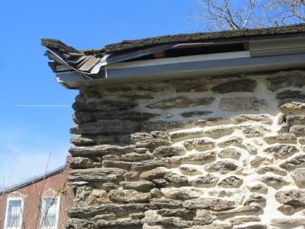 Cornice repair, Johnson House roof